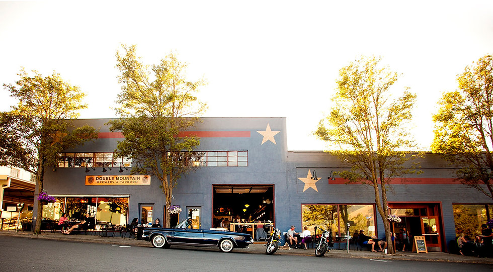 The front of our Hood River Taproom at Sunset.