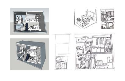 Closet sketch and sketchup