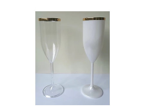 Taça Champanhe 170 ml c/ borda dourada