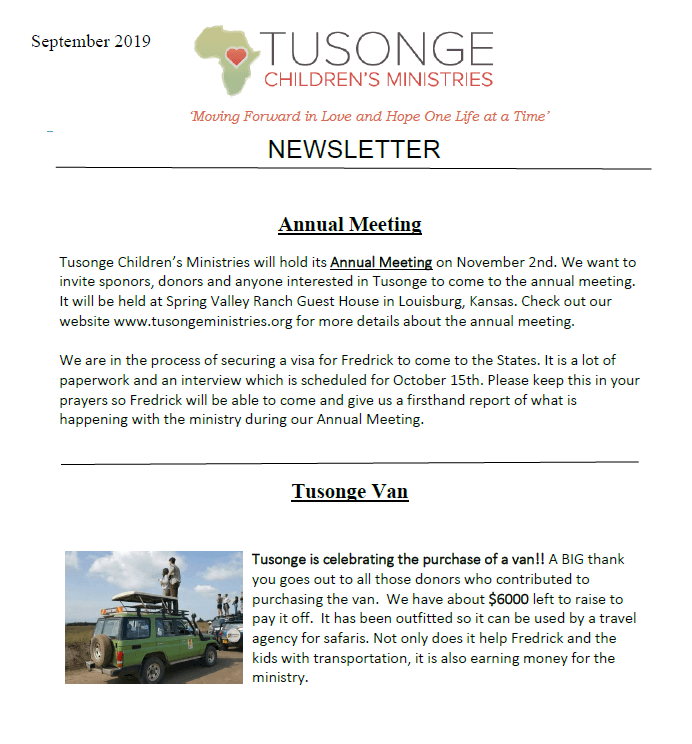 Newsletter Sept 2019 page 1