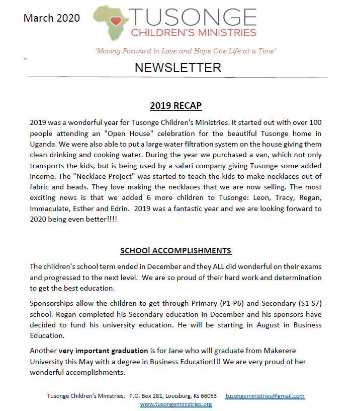 March 2020 newsletter page 1