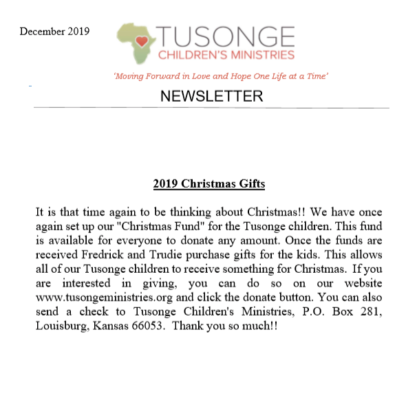 December 2019 newsletter page 1