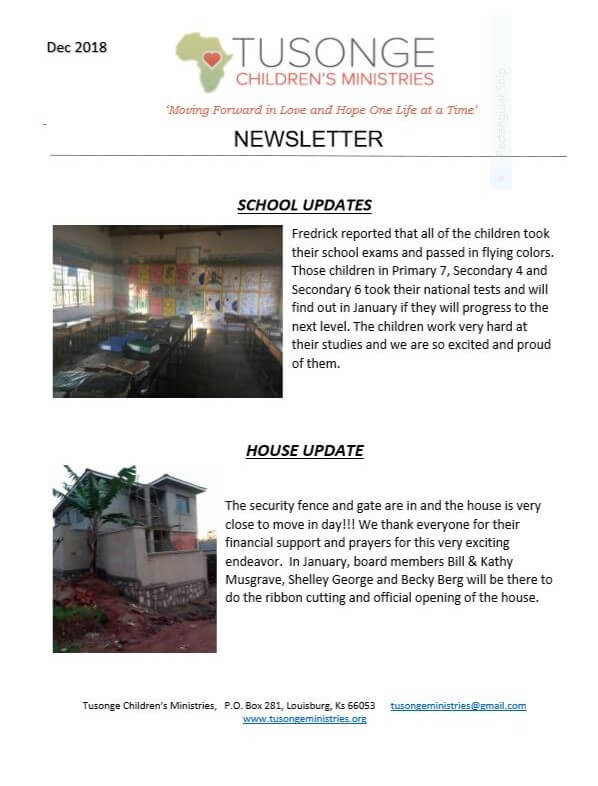 December 2018 newsletter page 1