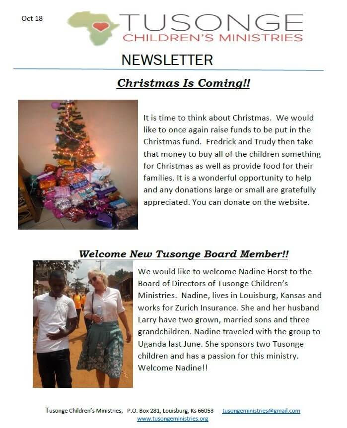 October 2018 Newsletter Page 1