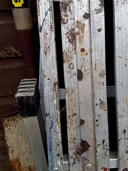 Paint splattered work bench