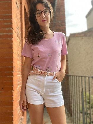T-shirt fleurs brodées