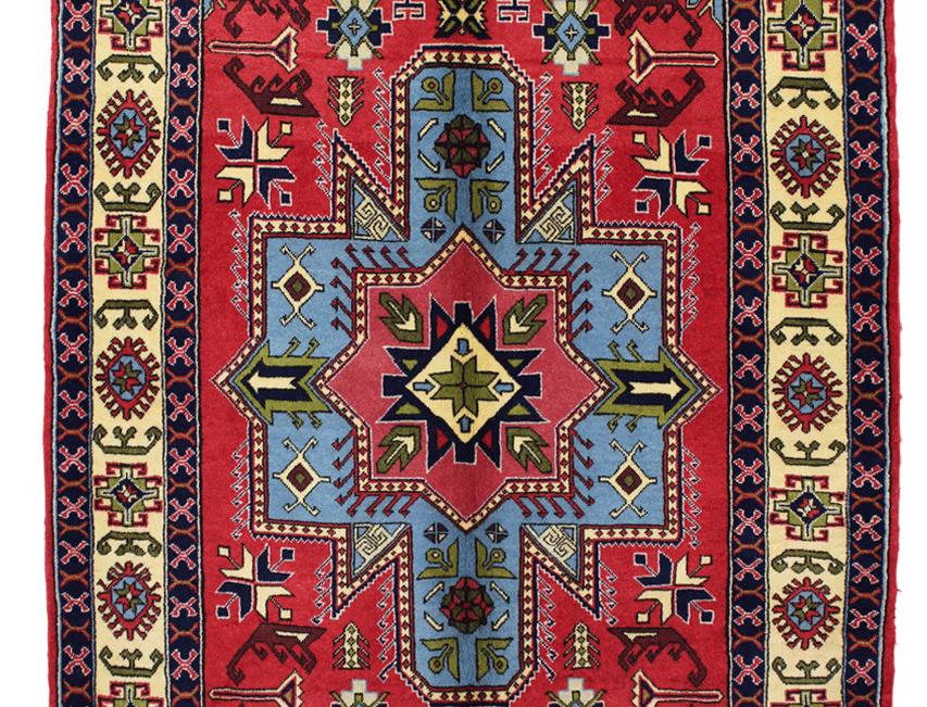 33186ケルマーンシャー(/ケルマンシャー)幾何メダリオン文様絨毯/167x105㎝