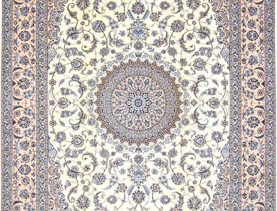 数寄の絨毯33292ペルシャ絨毯・ナーイーン(ナイン)  メダリオン・コーナー文様絨毯