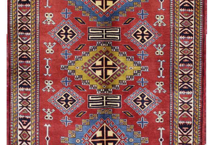 33199ケルマーンシャー(ケルマンシャー)幾何学文様絨毯140x102㎝