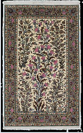 9072|カーシャーン(カシャーン)草花文様絨毯|約217x137㎝