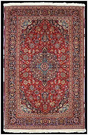 9060|カーシャーン・メダリオン・コーナー文様絨毯|約207x132㎝