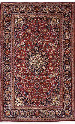 9066B|カーシャーン(カシャーン)・メダリオン・コーナー文様絨毯|約208x135㎝