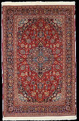 9084|カーシャーン・メダリオン・コーナー文様絨毯|約207x134㎝
