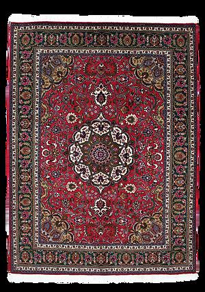 9076|タブリーズ・メダリオン・コーナー文様絨毯|約199x151㎝