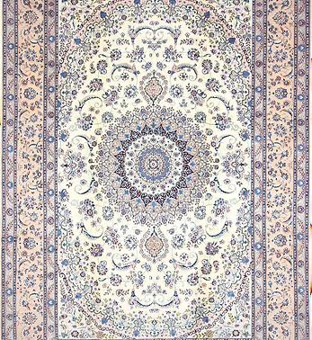 数寄の絨毯33288ペルシャ絨毯・ナーイーン(ナイン)  メダリオン・コーナー文様絨毯