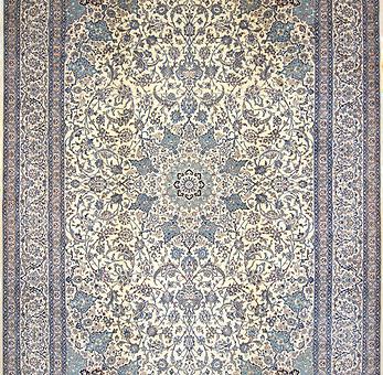 数寄の絨毯33295ペルシャ絨毯・ナーイーン(ナイン)  メダリオン・コーナー文様絨毯