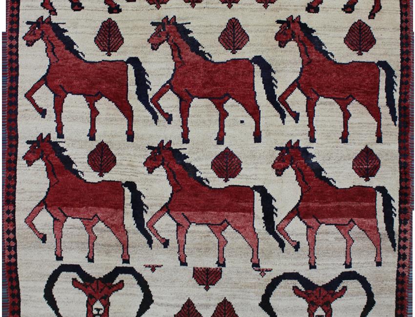 33193ガシュガーイー(カシュガイ)ピクトリアル絨毯