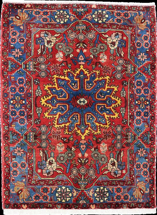 数寄の絨毯9002/コレクションアイテムペルシア-ハマダーン(ハマダン)幾何メダリオン文絨毯