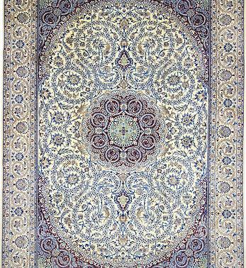 数寄の絨毯33283/ペルシャ絨毯・ナーイーン(ナイン)  6laメダリオン・コーナー文様絨毯