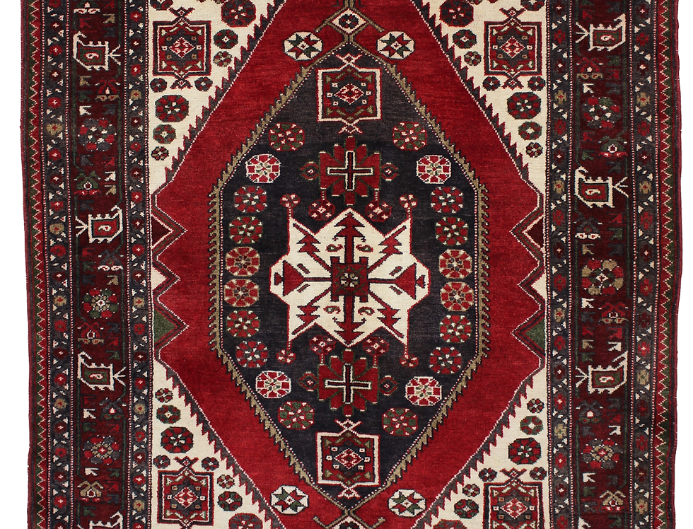 33101ハマダーン(ハマダン)幾何メダリオン文様絨毯