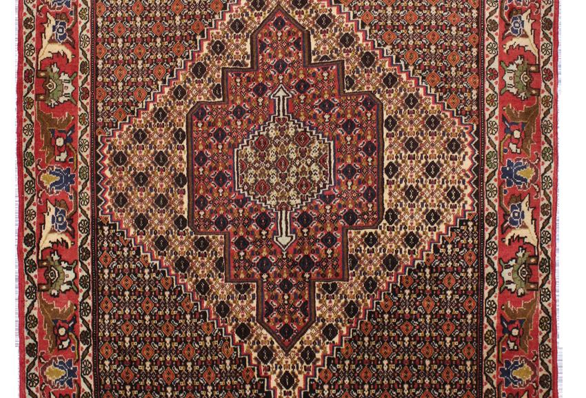 数寄の絨毯33137/ペルシア絨毯サナンダージュ・幾何メダリオン文様絨毯