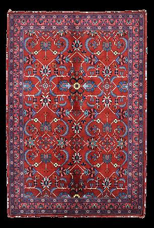 9086|ハマダーン(ハマダン)連花葉文絨毯|約193x133㎝