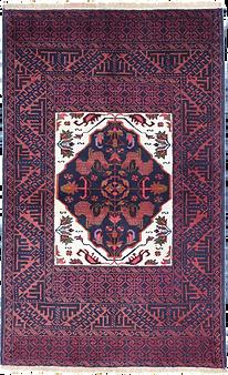 9012|バルーチ・幾何メダリオン文様絨毯