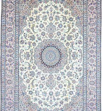 数寄の絨毯33299ペルシャ絨毯・ナーイーン(ナイン)  メダリオン・コーナー文様絨毯