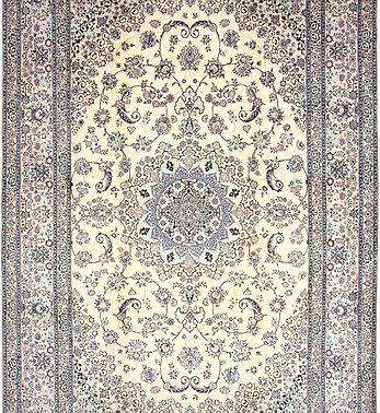 数寄の絨毯33280/ペルシャ絨毯・ナーイーン(ナイン)  メダリオン・コーナー文様絨毯