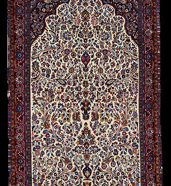 数寄の絨毯33222,ギアサバード・メヘラーブ(ミフラーブ)文様絨毯