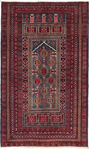 9013|バルーチ・メヘラーブ文様絨毯