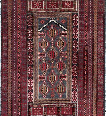33167バルーチ・ミフラーブ幾何文様絨毯