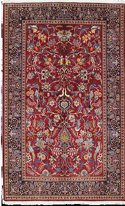 9059|カーシャーン(カシャーン)連花葉楽園文様絨毯|約211x134㎝