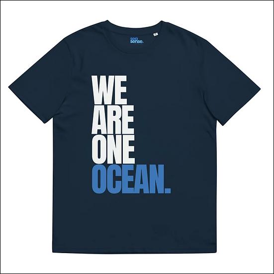WE ARE ONE OCEAN UNISEX  T-SHIRT IN DEEP OCEAN BLUE