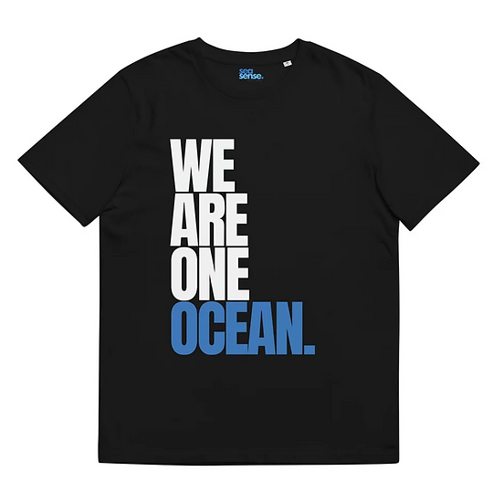 WE ARE ONE OCEAN UNISEX T-SHIRT IN ORCA BLACK