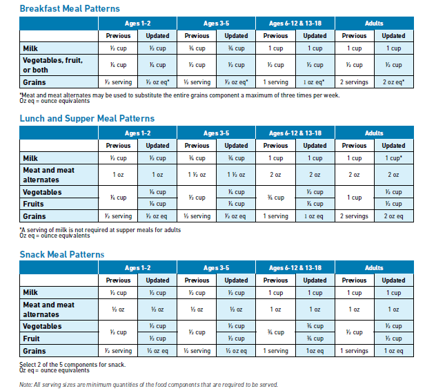 Child and Adult Food Program Guidelines and Meal Patterns. Registered Dietitian