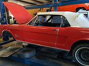 1965 red ford mustang