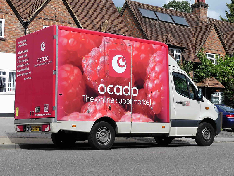 Ocado Delivery Van Side View Bright Red Printed Graphics