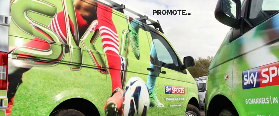 Green Sky Vans with graphics side by side