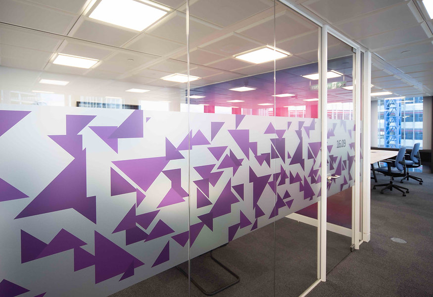 Frosted Printed Glass Manifestation Traingles Purple