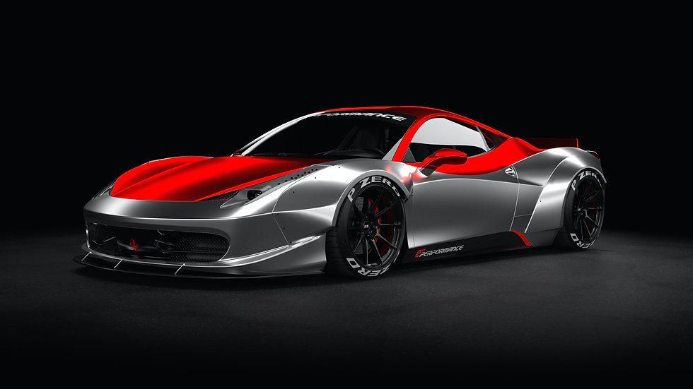 Ferrari 458 lb EP1 Front Left Corner Silver & Red