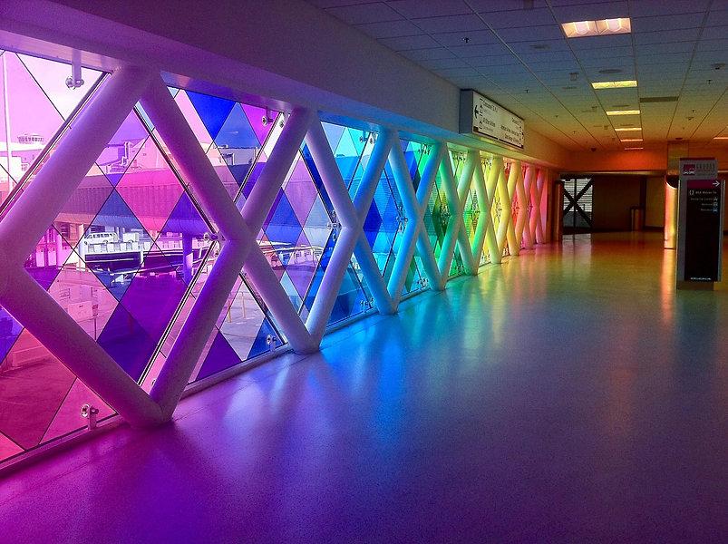Bright Coloured Window Glass Corridor