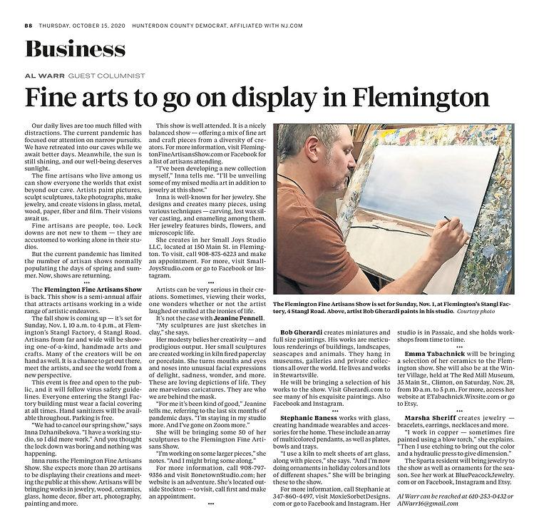 Fine Arts Article Oct. 15_Hunterdon Coun