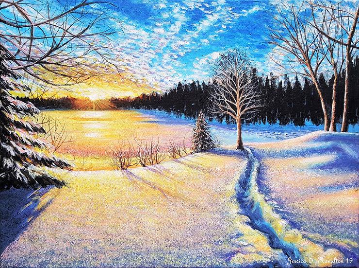 Winter's Glow, 12x16, Acrylic on Canvas