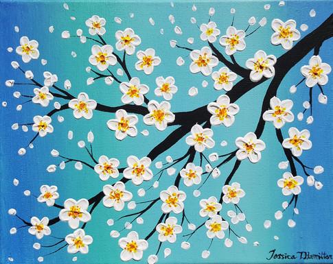 Cherry Blossom Over Teal Sky