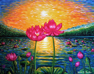 Lotus Pond in Bloom by Jessica Hamilton