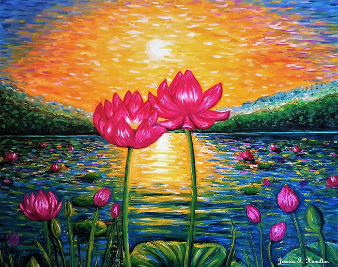"Lotus Pond in Bloom, 24x30"", Oil on Canvas"