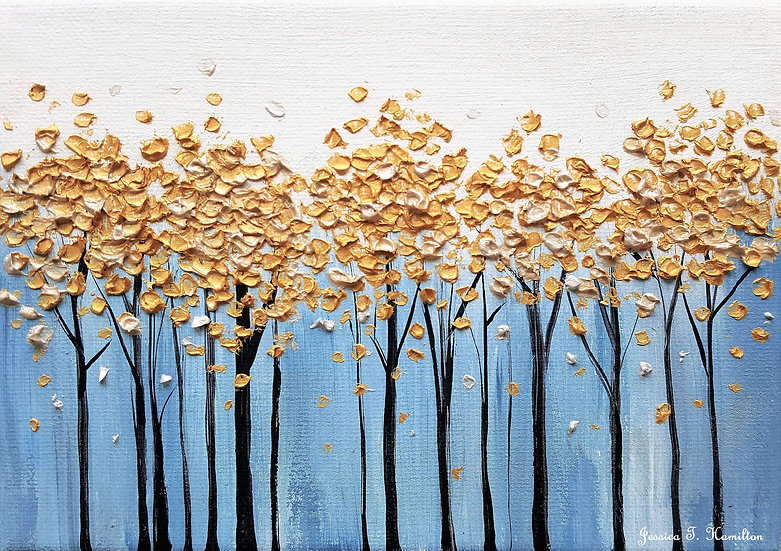 "Golden Forest, 5x7"", Oil on Canvas"