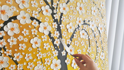 White Cherry Blossoms Commission in Progress