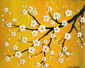 Cherry Blossoms Over An Yellow Sky